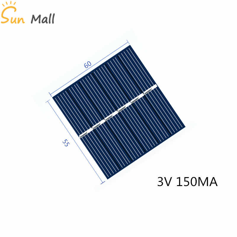 Mini Polycrystaline Silicon Solar Panel 3V 150MA for Intelligence DIY toy power generation board with DC small motor fan cap