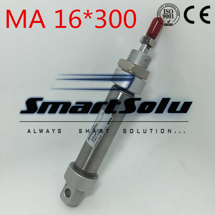 Free Shipping MA Series 16X300 16-300 mm , Double Acting Pneumatic Stainless Air Cylinder 16MM Bore 300MM Stroke , Airtac Type double acting pneumatic component stainless steel ma 16 100 air cylinder