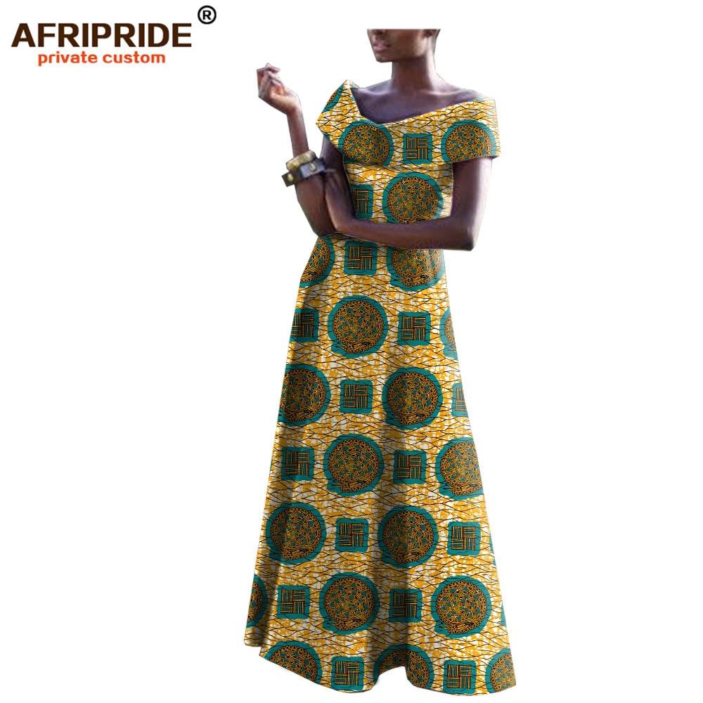 2018 AFRIPRIDE eraviisilised afrika eririided naistele elegantne maxi pidu kleit suur suurus lühikeste varrukatega puhas puuvillane kleit A722549