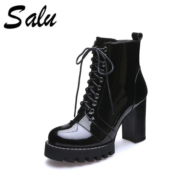 Salu Genuine Leather ankle  Boots Black Autumn Boots For Women Solid Handmade Patent Leather ShoesSalu Genuine Leather ankle  Boots Black Autumn Boots For Women Solid Handmade Patent Leather Shoes