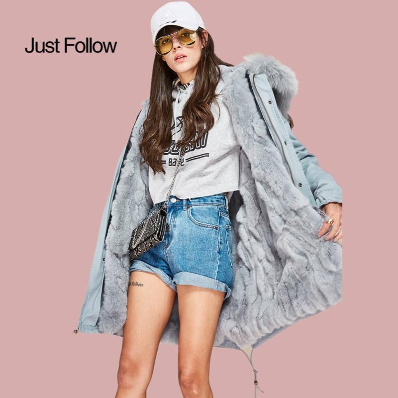 2019 mode femmes grande fourrure de raton laveur à capuche long manteau d'extérieur fourrure de lapin doublé veste d'hiver
