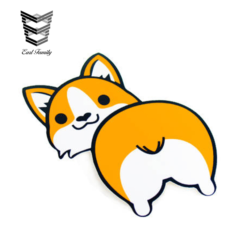 Corgi decal sticker wall car window phone laptop dog puppy cartoon Black Ring