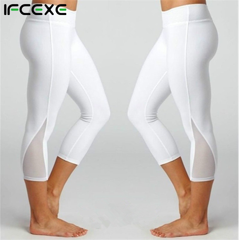 Women Calf-length Pants Capri Pant Sport leggings Women Fitness Yoga Gym High Waist Legging Girl Mesh 3/4 Yoga Pants drop ship
