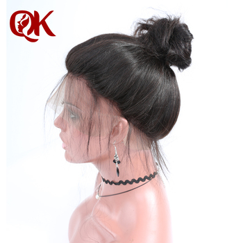 QueenKing Hair Pre Plucked 360 Lace Frontal French Lace 12-20 inch 100% Brazilian Remy Human Hair Body Wave Natural Black Color