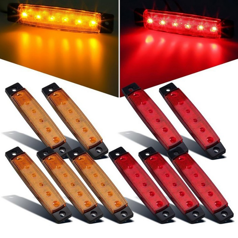 DC 12V Car External Lights 6 SMD <font><b>LED</b></font> Auto Car Bus Truck Lorry Side Marker Indicator low <font><b>Led</b></font> Trailer Light Rear Side Lamp image