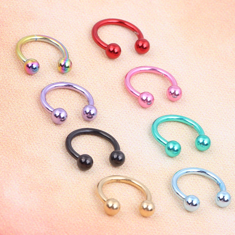100pcs 1.2*8*3mm Color Stainless Steel Balls Circular Barbell CBR Horseshoe Septum Piercing Nose Lip Tragus Ear Ring