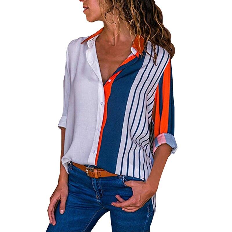 83c57a29a Floral Print Blouse Striped Long Sleeve Button Casual Loose Shirts Women  Turn-down Collar Shirt 2018 Autumn Fashion Tops Blouses