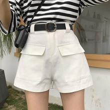 2019 Fashion New Summer Women Wild High Waist Wide Leg Shorts Tooling Casual Har