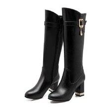 สุภาพสตรีกลางบล็อกส้นกว่าเข่าสูงขี่บู๊ทส์ขาเข่าเซ็กซี่รองเท้าผู้หญิงBotas Mujerแต่งงานรองเท้าสีแดงสีดำสีเทา