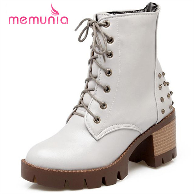 d4a3ac51328cf MEMUNIA Motorcycle boots punk high quality lace up rivets solid women boots  soft leather square heel round toe winter boots