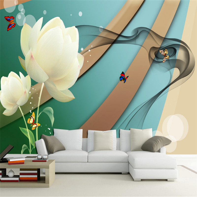 custom modern 3d high quality non-woven wallpaper murals3d fantasy white lotus flower fashion TV background wall for kitchen beautiful net color decorative pattern design of modern household wall paint murals background wallpaper with high quality papel
