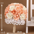 Exquisite Orange and White Rose Artificial Pearls Lace Side Bridal Wedding Bouquet