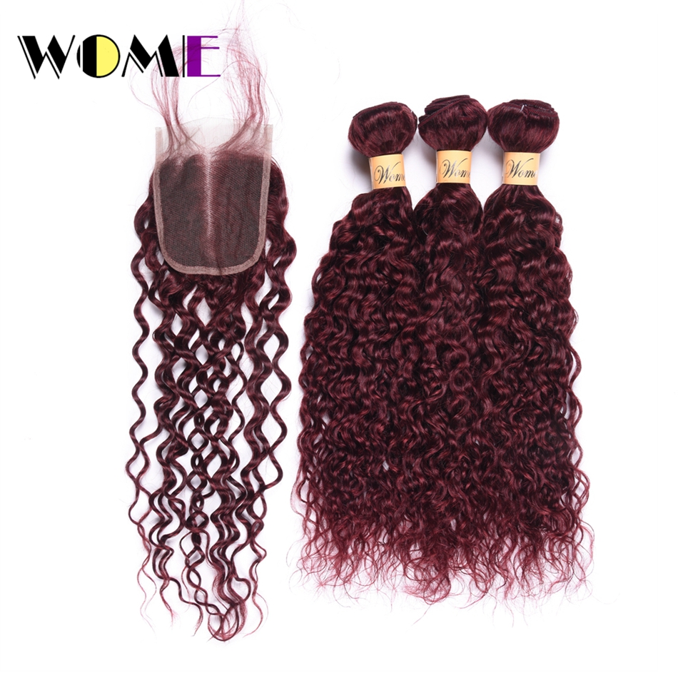 Wome Water Wave Bundles With Closure 3 Bundles Human Hair Brazilian Non Remy 99J Red Wine