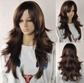 New Charming Women Long Mix Brown Layered Curly Cosplay Full Hair Wig Wigs