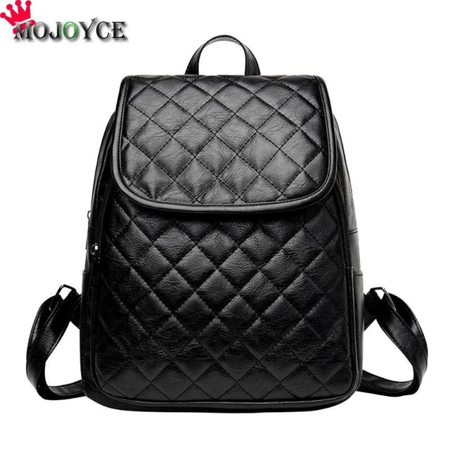 Fashion Black PU Leather Backpack Female Plaid Backpacks for Adolescent Girls Women Spliced Casual Small School Bag 1