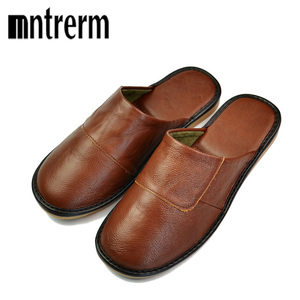 Image 3 - Mntrerm Spring Slip On Men Slippers Soft Comfortable 100% Cow Leather  Genuine Leather Shoes push large size shoe houseware