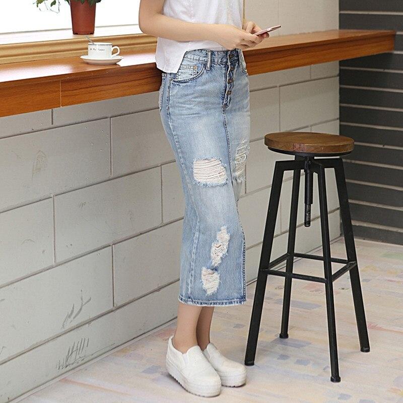 b31bb9d6d 2018 Summer Autumn Women Slim Long Denim Skirt Casual Hole Maxi Jean Skirt  Vintage High waist Hem Split Pencil Skirts Streetwear