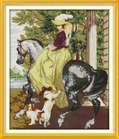 The Lady In The Horse Girl Painting Counted Cross Stitch Kits 14CT 11CT Printed DMC Cross