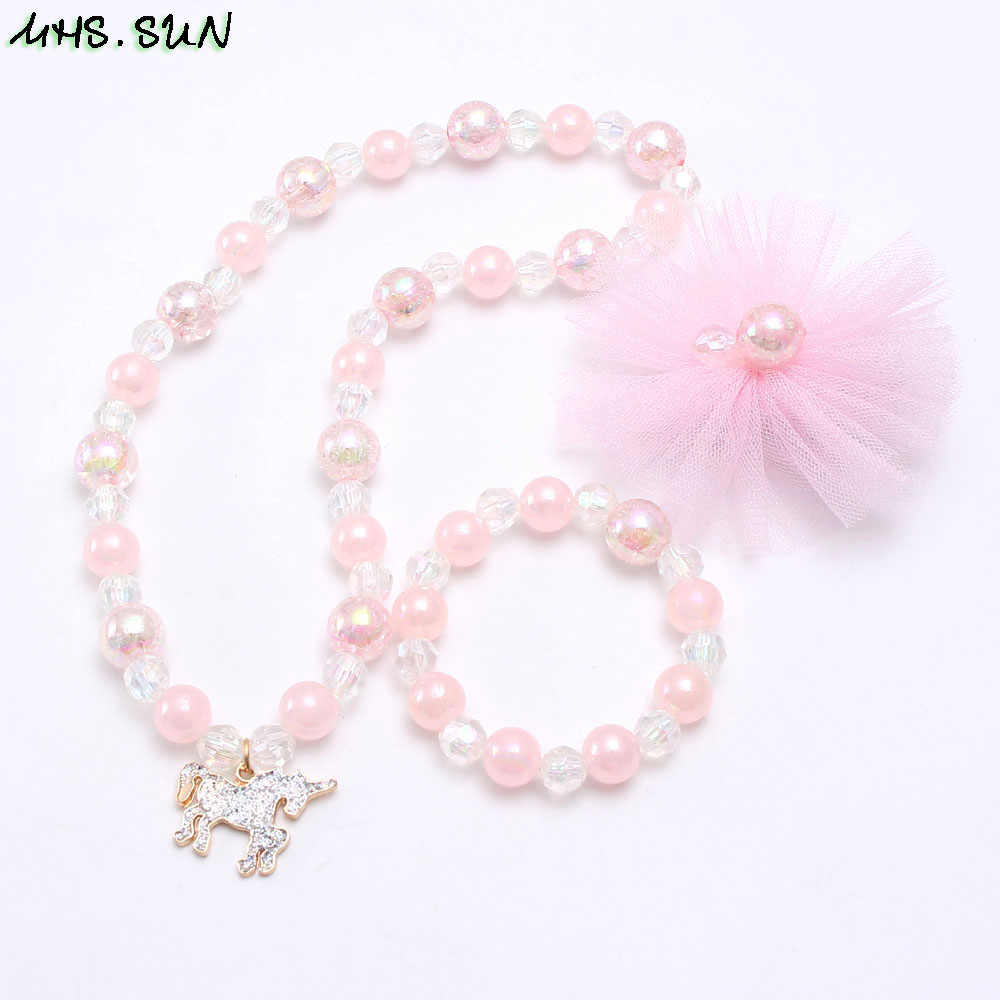 MHS.SUN Pink Style Girls Beads Necklace Bracelet Hairclips Set Fashion Unicorn Chunky Beads Jewelry Set For Baby Party Gift