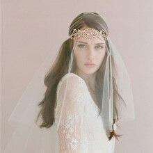 Artesanal de Noiva Cocar Acessórios para o Cabelo Senhoras Romântico Casamento Branco Acessório Headband Veil Estilo Europeu e Americano