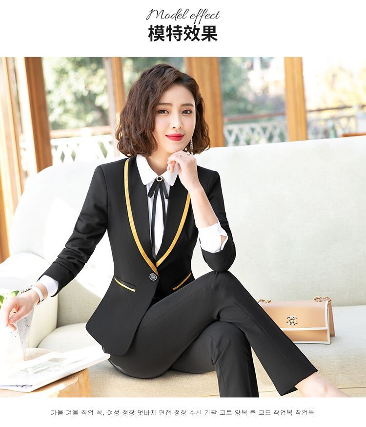 Naviu New Fashion Business Interview Women Pants Suit Office Ladies Long Sleeve Slim Formal Blazer and Trousers Plus Size Set