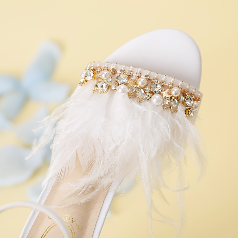 Bombas Pluma Elegante Zapatos Tacones Decration Nuevo Toe Cuadrados Mujer Sandalias Novia Cristal As Picture J059 Boda De Blanca Peep Fiesta 1Ew8xq
