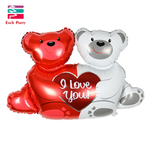 "High quality 100*70cm double bears hug heart "" I love You"" foil balloons wedding party decoration helium Balls air ballon"