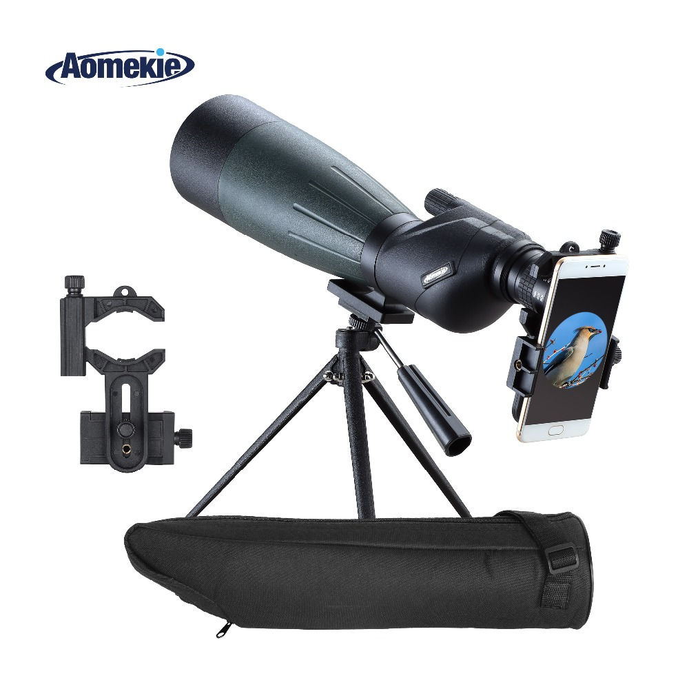 AOMEKIE 20 60X80 Spotting Scope Zoom Hunting Optics HD BAK4 Bird Watching Monocular Telescope with Tripod