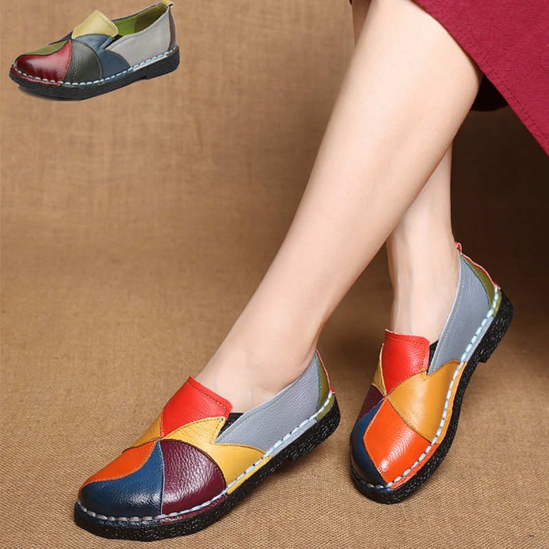 Summer Ballet Flats Genuine Leather Shoes Women Moccasins Soft Round Toe Flats Mixed Color Slip On Loafers Women Chaussure Femme qmn women genuine leather ballet flats women patent leather round toe slip on leisure shoes woman cute leather flats