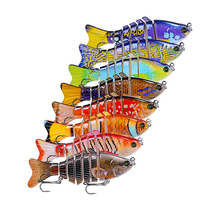 New 8pc Fishing Lure 10cm 3D Eyes 7-Segment Lifelike Hard Crankbait With 2 Hook Baits Pesca Cebo