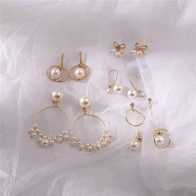 2019 Women Korean Cute Gold Silver Crystal Rhinestones Flower Drop Stud Earrings For Female Jewelry Gift Party Ear Ring Brinco