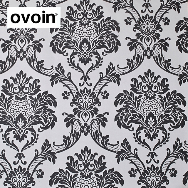 European Style Black White Damask Wallpaper Contemporary Textured PVC Wall Paper Waterproof