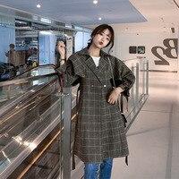 Women Korean Loose Casual Elegant Chic Sashes Plaid Trench Coat Female Fashion Office Lady Long Blazers Windbreaker Outerwear