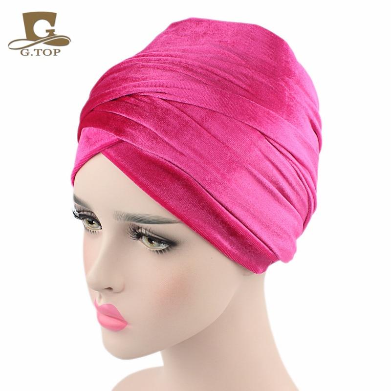 Nueva moda mujer terciopelo turbante diadema abrigo Hijab extra largo - Accesorios para la ropa - foto 5