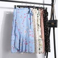Women Bust Skirt Luxury Allover Printed Tall Waist Lady Skirt Summer Chiffon Floral Irregular Lace up Fishtail Skirt Women