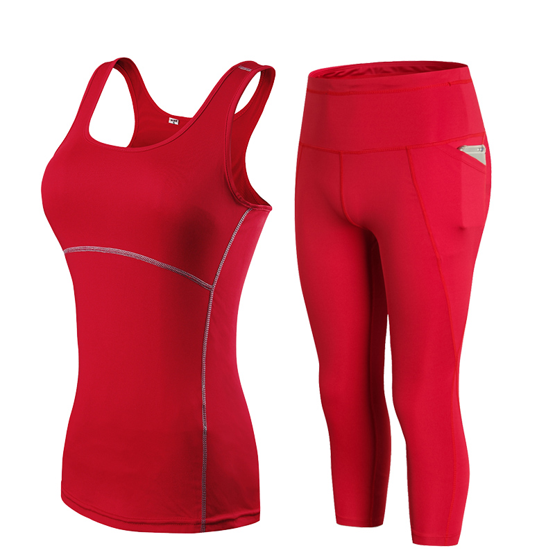 2019 YD Gym Woman Sportswear Yoga Set Tracksuit For Women Leggings For Fitness Tight Running Pants Female Sleevess Vest Top