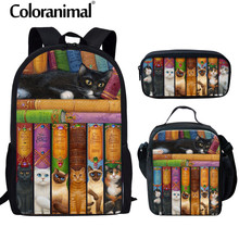Coloranimal Labrary Books School Bag for Teenager Girl Naughty Bookshelf Cat Printing 3D Animal Children Set Backpack Book Bags