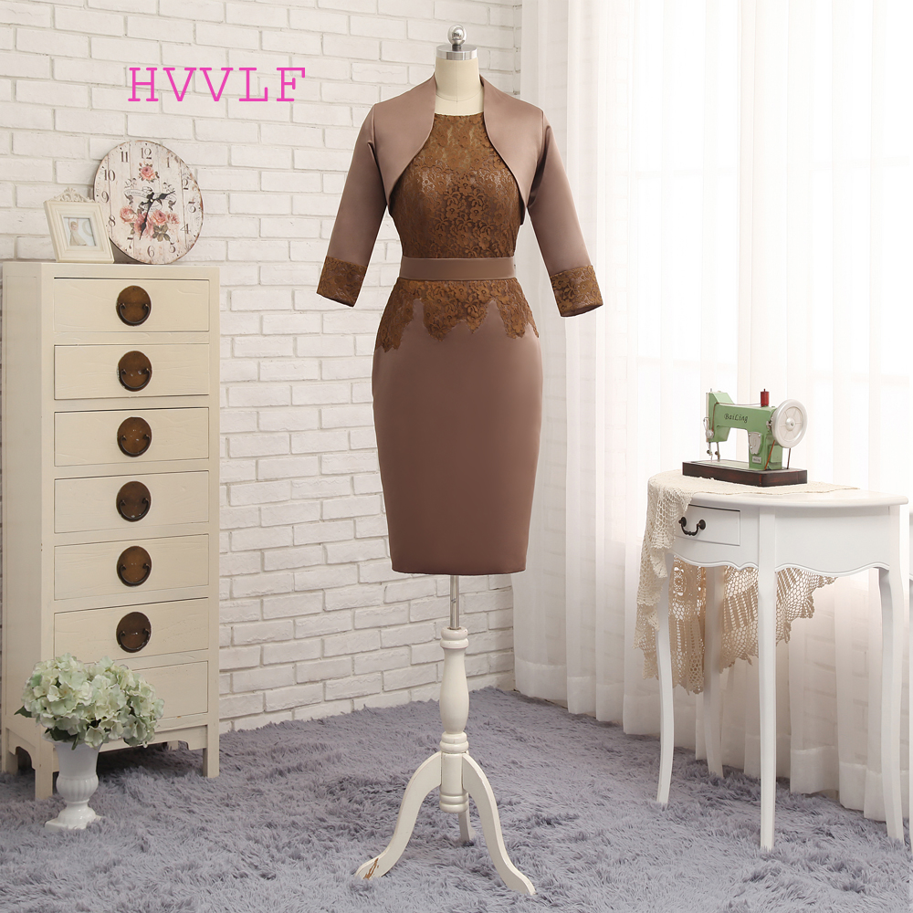 Plus Size Brown 2019 Mother Of The Bride Dresses Sheath With Jacket Satin Lace Wedding Party Dress Mother Dresses For Wedding