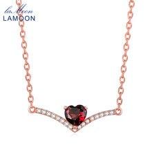 LAMOON Corazón Rojo Granate 925-plata-joyería de la Cadena Colgante Collar Para Las Mujeres Joyería Fina de Oro Rosa Collares LMNI044