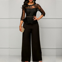 MUXU sexy black women elegant europe and the united states jumpsuits rompers long sleeve wide leg jumpsuit body woman one piece