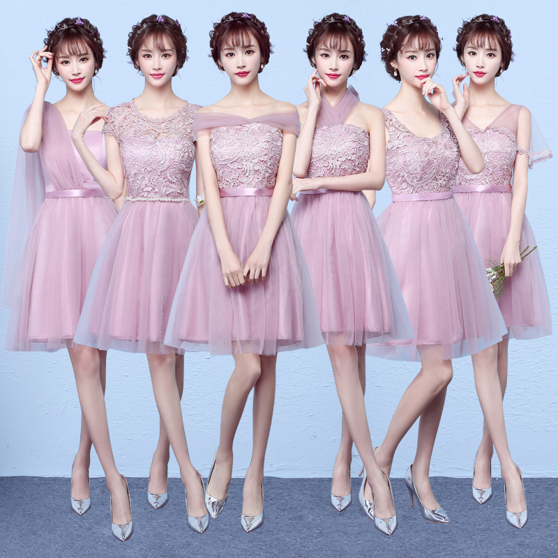 MNYG2945Z#The bridesmaid dresses purple short new spring summer 2017 bride toast wedding party gown cheap wholesale dress girl