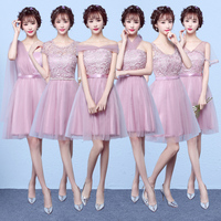 MNYG2945Z The Bridesmaid Dresses Purple Short New Spring Summer 2017 Bride Toast Wedding Party Gown Cheap