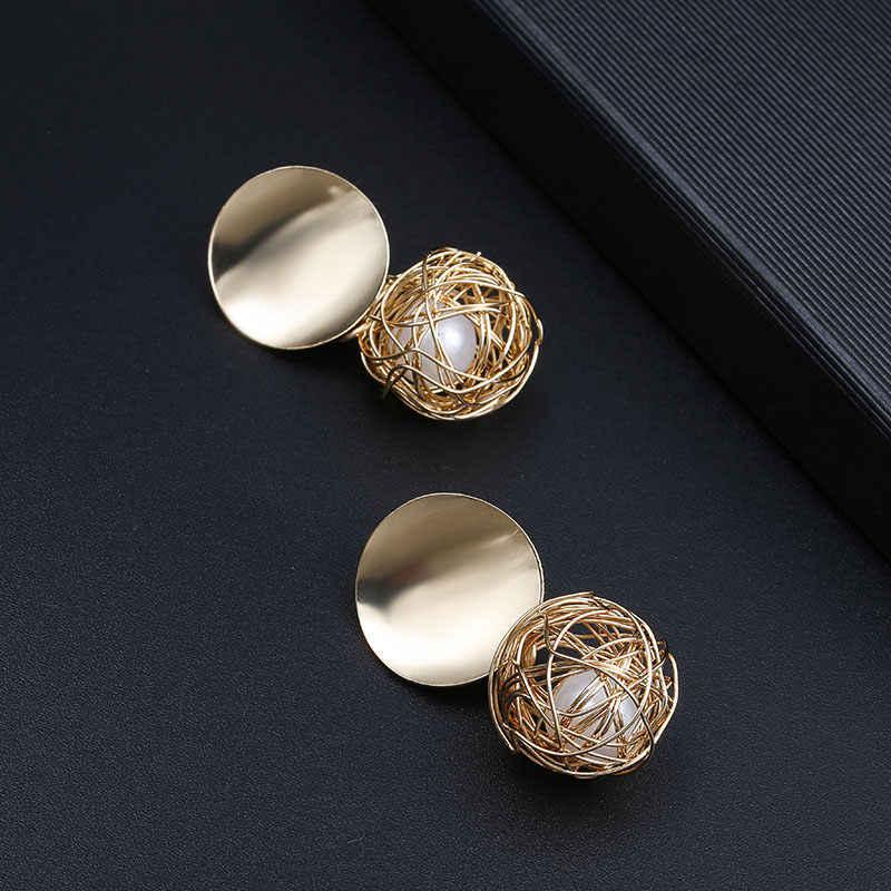 חדש אופנה עגילים לנשים זהב צבע עגול כדור פרל גיאומטרי עגילי פנינה עבור מסיבת חתונה מתנה סיטונאי אוזן