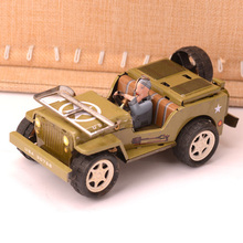 Retro Willys Jeep Car Tinplate Clockwork Toy Vintage Tin Wind Up Toys For Children Vintage Handmade Crafts
