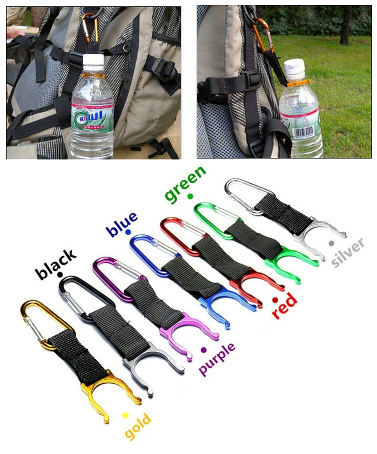 Free Shipping 1pc Camping Carabiner Water Bottle Buckle Hook Holder Clip For Camping Hiking Survival Traveling Tools #1219 B1