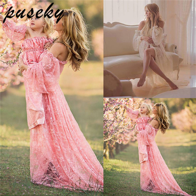 все цены на Maternity Photography Props Pregnancy Fancy Dress Lace Robe Strapless Maxi Gown Maternity Dress Split Front Women Long Dress