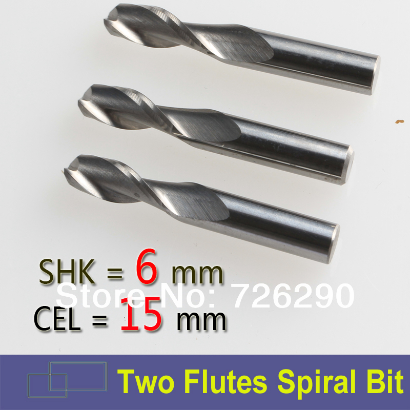3pcs 6mm Shk 6*15mm Carbide Engraving Tools 2 Flutes Spiral Cutting Bit CNC Milling Cutters for Wood Carving Machine