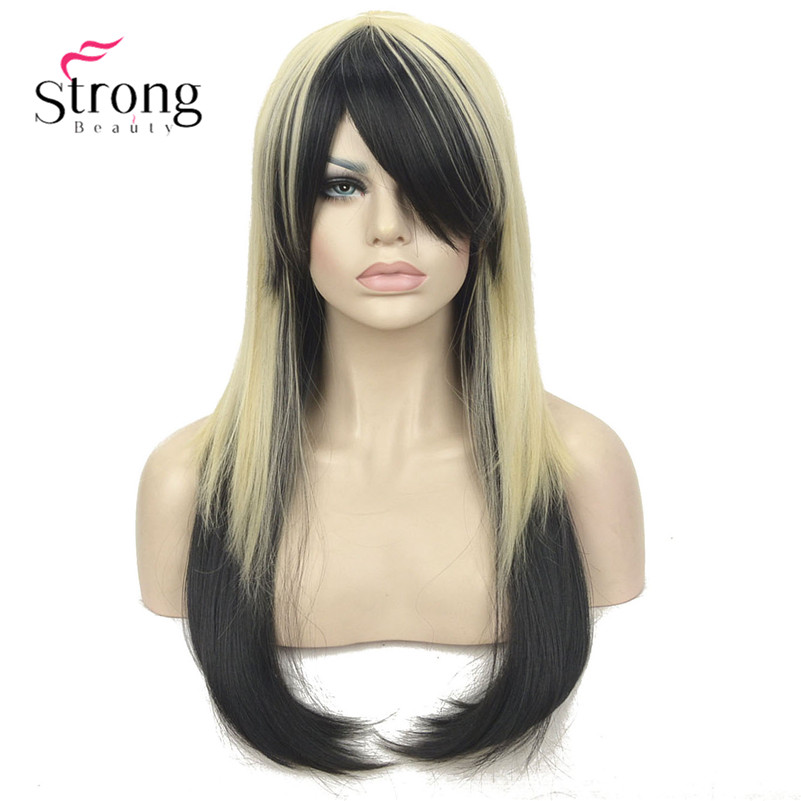 Long Layered Straight Golden Blonde and Black mix Cosplay Party Full Synthetic Wig