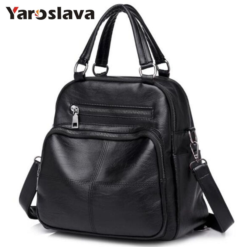 Casual Large Capacity Women Tote Shoulder Bag PU Leather Ladies Bucket Handbag Messenger Bag Soft Shopping Crossbody Bag  LL376