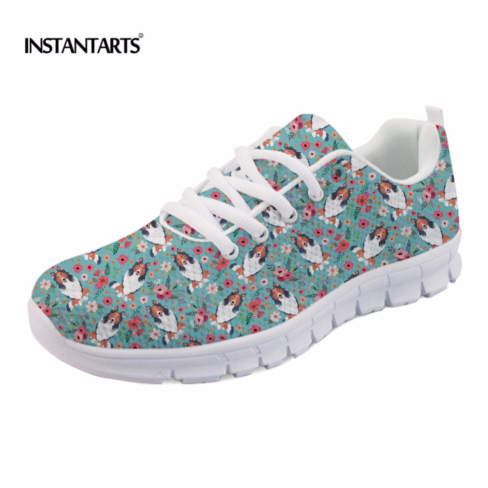 INSTANTARTS Rough Collie Flower Women Casual Sneakers Lace Up Mesh Flat Shoes Breathable Shepherd Dog Print Female Casual Flats instantarts casual women s flats shoes emoji face puzzle pattern ladies lace up sneakers female lightweight mess fashion flats